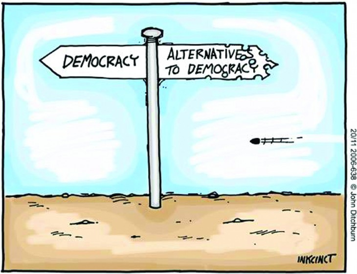 democracy-sign-post