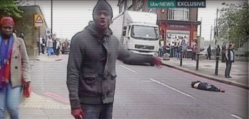 Michael Adebolajo at the scene of his murder of Private Lee Rigby